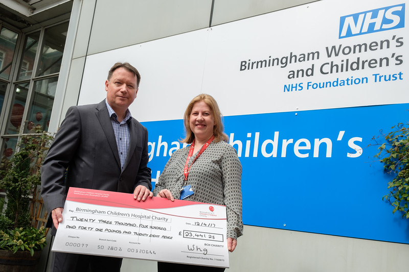 WHG Cheque presentation to Birmingham Children's Hospital - Pictured left to right, Gary Fulford (Cheif Executive, WHG), Eloise Davidson (Regional Fundraiser, BCH)
