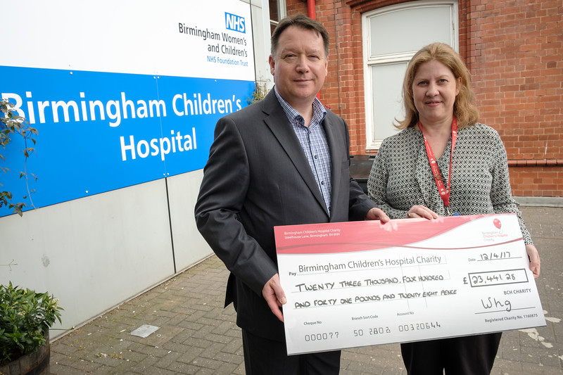 WHG Cheque presentation to Birmingham Children's Hospital - Pictured left to right, Gary Fulford (Cheif Executive, WHG), Eloise Davidson (Regional Fundraiser, BCH)