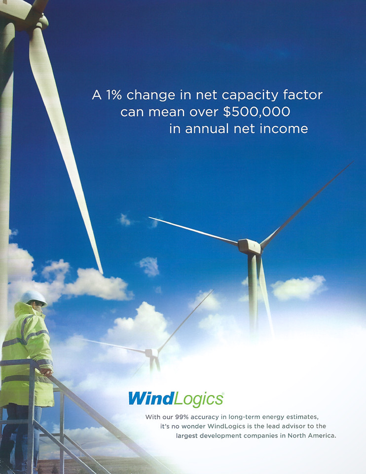 My photography of wind turbines used for promotional print materials