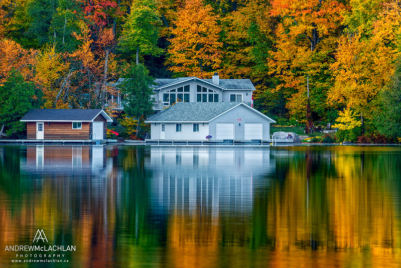 Cottage on Horseshoe Lake in Autumn, Parry Sound, Ontario, Canada