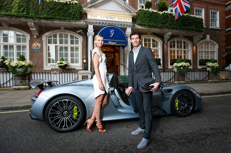 Maria Sharapova, is picked up from The Goring hotel in central London by racing driver Mark Webber, in the plug-in hybrid Porsche 918 Spyder