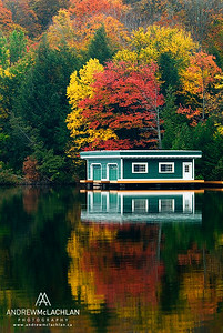 Autumn colour and Boathouse on Lake Rosseau, Ontario, Canada