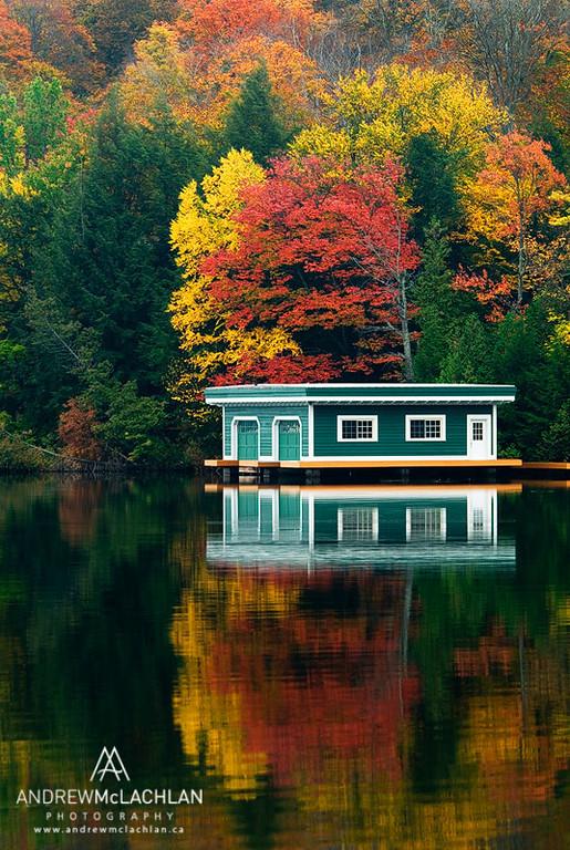 Autumn colour and Boathouse on Lake Rosseau, Ontario, Canada