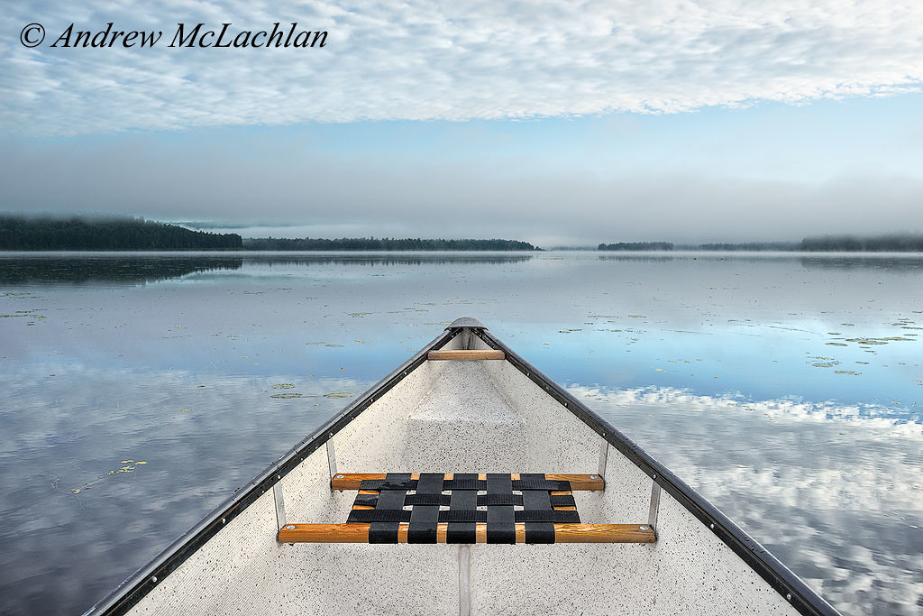 Canoeing on Lake Travers, Algonquin Provincial Park, Ontario, Canada