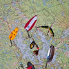 Fishing Lures on MAp of Muskoka, Ontario, Canada
