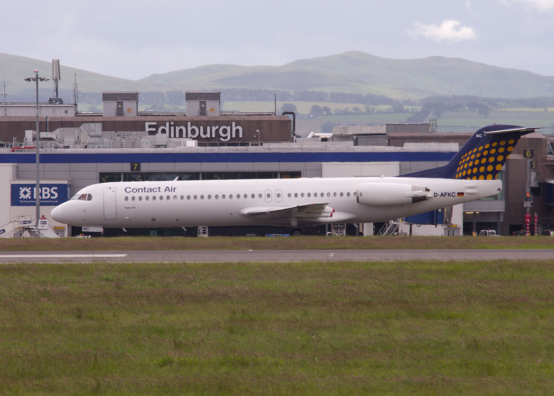 D-AFKC<br /> Fokker 100 (F28-D100)<br /> Contact Air International<br /> Edinburgh Airport<br /> 30th June 2012