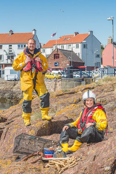 Pictured: Chris Woods and Rebecca Miller (Dunbar Lifeboat Crew)