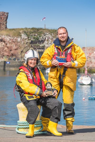 Pictured: Rebecca Miller and Chris Woods (Dunbar Lifeboat Crew)