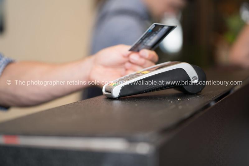Making credit card payment closeup