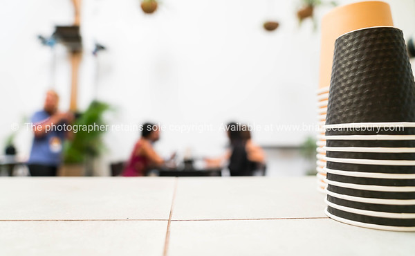 Group out of focus in cafe