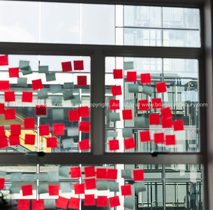 Office window used to ideas board