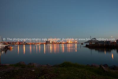 Tauranga photo; Port of Tauranga across harbour before sunrise. See; www.blurb.com/b/3811392-tauranga mount maunganui landscape photography, Tauranga Photos;
