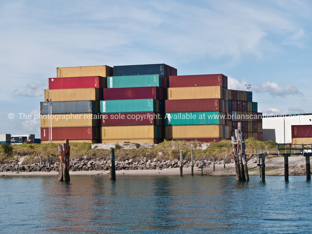"Tauranga scenics. Stack of multi-coloured containers arranged on Sulphur Point port facility. See;  <a href=""http://www.blurb.com/b/3811392-tauranga"">http://www.blurb.com/b/3811392-tauranga</a>"