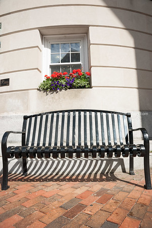 Seat outside building, Bath, Maine.