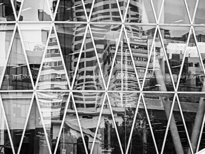 Architectural feature and reflections, Auckland