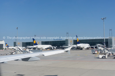 Lufthansa planes and airport equipment parked outside terminal in Frankfurt Germany.