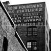 Brick building and old sign, architectural stock image in black and white. Seattle, USA.  Fine art photography, imagine this image on your wall.