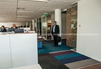 Interior and people in one of Tauranga's newest buildings. Priority one shoot.  Model/Property Release; NO. Not for commercial use without permission. Editorial use only without permission. KPMG office design and layout.