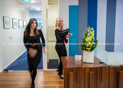 Interior and people in one of Tauranga's newest buildings. Priority one shoot.  Model/Property Release; NO. Not for commercial use without permission. Editorial use only without permission. KPMG Reception.