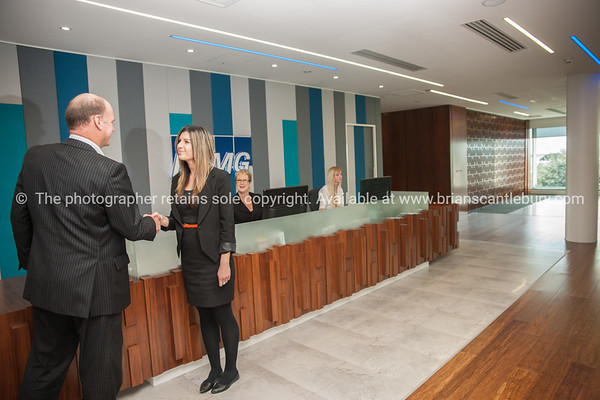 Interior and people in one of Tauranga's newest buildings. Priority one shoot.  Model/Property Release; NO. Not for commercial use without permission. Editorial use only without permission.<br /> KPMG Reception.