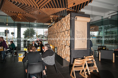Elizabeth Café. Interior and people in one of Tauranga's newest buildings. Priority one shoot.  Model/Property Release; NO. Not for commercial use without permission. Editorial use only without permission.