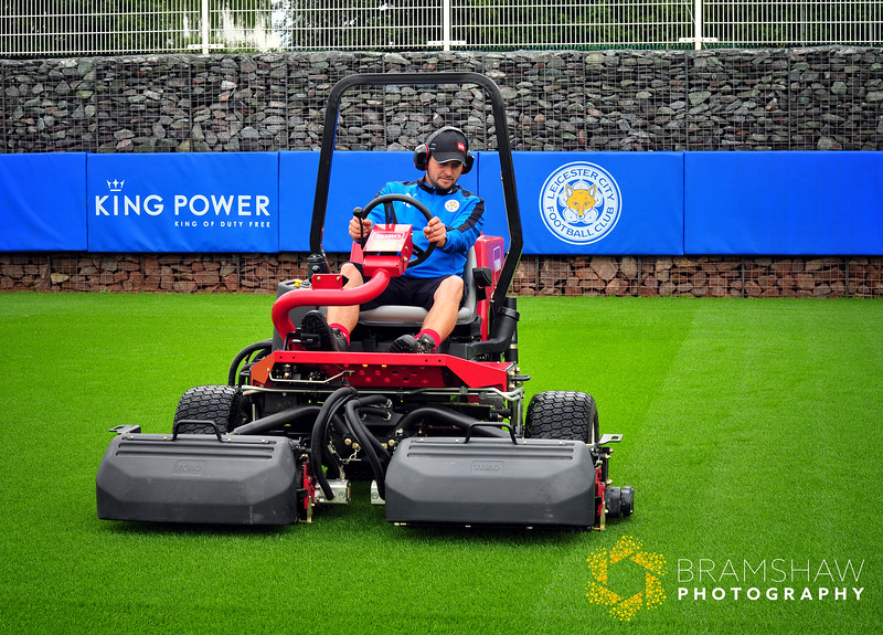 Toro Photo Shoot at Leicester City FC Training Ground, with John Ledwidge, grounds manager and Stewart Jeffs, Lely.