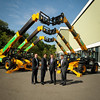 JCB has secured an order for more than 1,000 machines from a UK customer.L-R Dan Thompstone, JCB's UK and Ireland sales director,Asif Latief from Greenshields JCB,CEO Graeme Macdonald,Tom Greenshields.