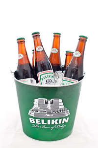 Bucket of ice cold Belikin, the beer of Belize.