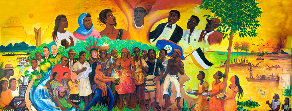 Hayawadina Wayunagu, mural from Pen Cayetano at the Dangriga Town Council depicting famous and influential Garifuna Leaders and people who have in some way greatly contributed to the survival and Culture of the Garifuna People in Belize.