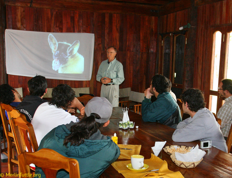 Merlin introducing bats to students during workshop at Tres Gigantes Reserve in Paraguay. Workshop Training