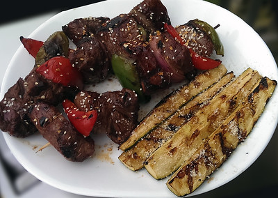Steak Kabobs and grilled zucchini