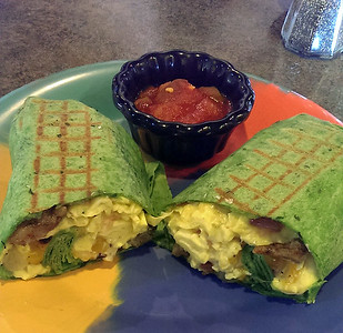 Breakfast burrito and Salsa