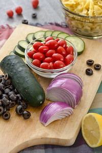 High angle view of Greek Salad Ingredients
