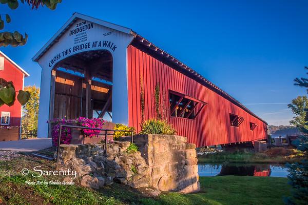 Bridgeton Bridge - Fall Morning, Bridgeton, IN, Parke County