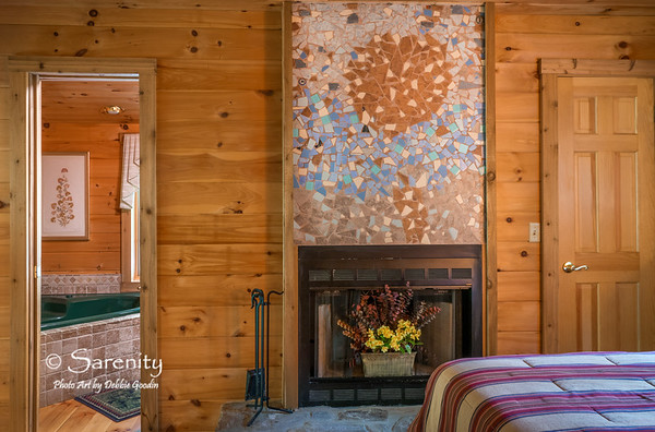 A one-of-a-kind sunset tile mosaic by cabin owner, Dale Campbell!