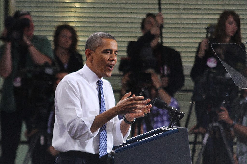 President Obama speaks at the Field House on April 25, 2012 in Iowa City, IA. (SOT Photography)