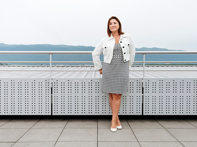 Fabienne Lupo on the roof terrace of the Fondation de la Haute Horlogerie, Meyrin, Switzerland - Samuel Zeller for The New York Times