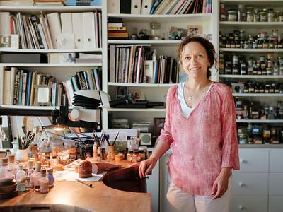Anita Porchet, enameller, in her atelier - Samuel Zeller for The New York Times