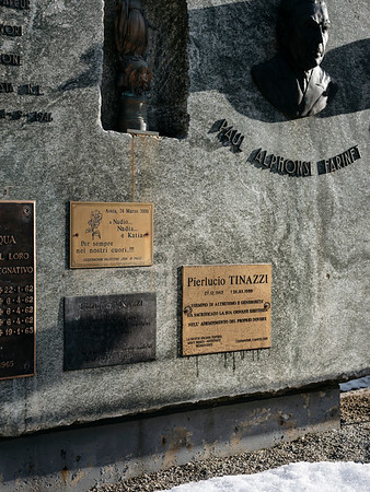 The memorial on the Italian side, part of it is the plate for Pierlucio Tinazzi - Samuel Zeller for the New York Times