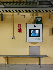 Video phone inside emergency shelter 17 that connect directly to an operator - Samuel Zeller for the New York Times