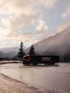 A truck parked at the tunnel du Mont-Blanc french access, probably waiting for clearance - Samuel Zeller for the New York Times