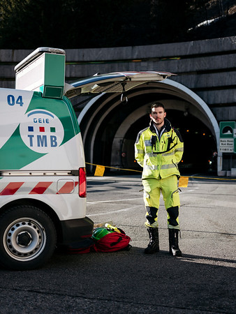 Pierre-Meric, Traffic safety team member and part of his first rescue gear, image taken on italian side - Samuel Zeller for the New York Times