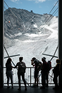 Tourists taking pictures at Col des Gentianes Verbier