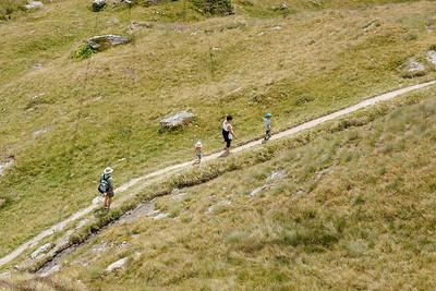Tourists trekking in La Chaux Verbier