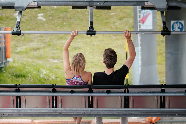 A couple on a cable car in Verbier