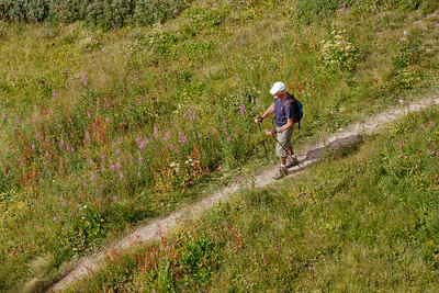 A man trekking in Verbier