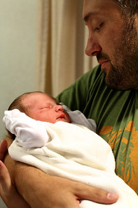 One Day Old Jack Everett Pynn with daddy Bryan Fathers Day 2012