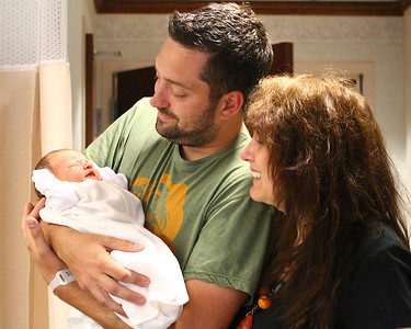 One Day Old Jack Everett Pynn with daddy Bryan and Grandma Sandy  Fathers Day 2012
