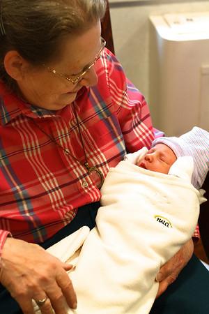 One Day Old Jack Everett Pynn with Grandma Barbara Pynn Fathers Day 2012