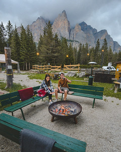 Camping Sass Dlacia - outdoor lounge with the crackling brazier  // Outdoor, lifestyle photography